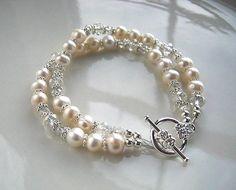 White Freshwater Pearl Bracelet Pearl by prettypiecesjewelry, $28.50