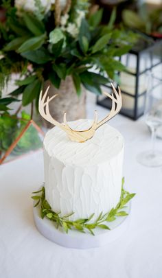 Genius Ideas to Show Off Your Style! Mirror antler cake toppers have a rustic feel while keeping your wedding classy // Handcrafted Table Signs and Event Decor, Gifts & Accessories at www.ZCreateDesign.com or ZCreateDesign on Etsy