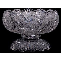 """TWO PART PUNCH BOWL - 6.75"""" X 10"""" ABCG W/ WELL CUT HOBSTAR, CANE & SD MOTIF. Antique Glassware, Crystal Glassware, Crystal Vase, Crystal Identification, Bohemia Crystal, Imperial Glass, Art Deco Glass, Punch Bowls, Glass Dishes"""