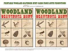 Printable Woodland Scavenger Hunt Cards - great idea for nature hikes in any season! #homeschool