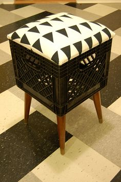 Milk Crate Stool by msutters, via Flickr  ***  EVEN BETTER! Took a cute idea and made it functional as storage. Plus, love the straight legs.