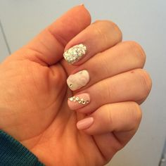Pretty in pink and silver manicure