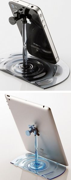 This iPhone/iPad stand or docking station appears to be a running faucet. It's made of polycarbonate plastic with ABS faucet parts and at first glance, looks like an old-fashioned faucet stand with streaming water.