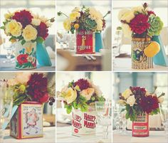 vintage tin flower arrangements