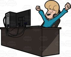 A man letting out his excitement and happiness after watching a sports show on his computer #blessed #blissful #blonde #blueeyed #blueeyes #bright #cheerful #computer #computerchair #content #contented #CPU #delighted #desk #desktop #desktopcomputer #elated #enjoy #ergonomicchair #euphoric #facialexpression #facialgesture #felicitous #fortunate #fun #glad #grin #grinning #grownup #happy #individual #joyful #joyous #keyboard #LEDscreen #male #maleperson #man #monitor #mouse #prosperous…