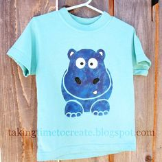 Taking Time To Create: Happy, Happy Hippo {A Freezer Paper Stenciled Shirt}