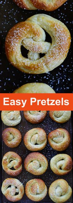 Easy Pretzels – the best homemade pretzel recipe that is super easy and fail-proof. Soft and chewy at the same time. Homemade Soft Pretzels, Pretzels Recipe, Pretzel Dough Recipe Easy, Sweet Pretzel Recipe, Easy Homemade Snacks, Appetizer Recipes, Snack Recipes, Appetizers, Easy Kids Recipes