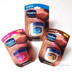 Vaseline Lip Therapy tubs in Rosy Lips, Original and Cocoa Butter