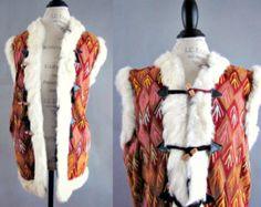 Vintage 1960's 70's EmBrOiDeReD Suede rabbit FUR HiPPiE BoHo ALmoSt FaMouS Coat Gilet Vest
