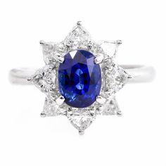 Estate Blue Sapphire Heart-Shaped Diamond Platinum Engagement Ring Item # 683807
