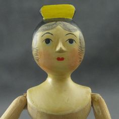"Sherman Smith Wood Peg Doll 5"" Mom Carved Nose Hair 
