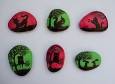 Stone magnets with Cats, Rabbits, Owl, Squirrel: Original art painting on pebbles  The pebbles are painted with watercolour (background) and black