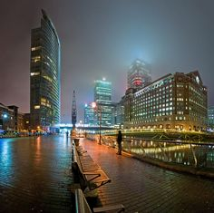 View On Black View of Canary Wharf, London from West India Quay on a misty winter night. This is not a cropped photo. London Icons, London City, England Uk, London England, London Landmarks, London Skyline, London Places, Most Beautiful Cities, London Calling