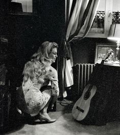 Stock Photo - Brigitte Bardot, at home in Paris. December 1958 does not manage Brigitte Bardot copyright. For all non editorial use, an atuhorization must be asked to Open Art Brigitte Bardot, Black White Photos, Black And White Photography, Romain Gary, Photos Rares, And God Created Woman, Open Art, Major Arcana, French Actress