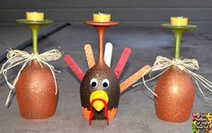 Thanksgiving Turkey Wine Glasses (Candle Holders) – The Keeper of the Cheerios