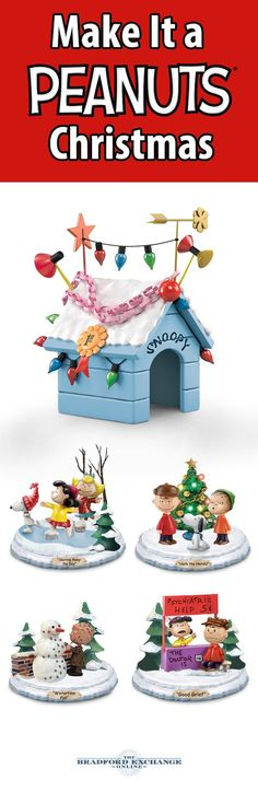 """Inspired by """"A Charlie Brown Christmas,"""" this first-of-its-kind sculpture collection features memorable scenes of the PEANUTS gang, along with a Snoopy doghouse centerpiece that lights up."""