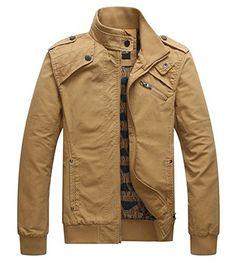Benibos Men's Stand Collar Casual Jacket Zipper Coat (US:S / Asia L, Khaki)