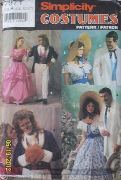 Simplicity 7971 Gone with the Wind Beauty and the Beast Costume Pattern Civil War Scarlett Rhett Belle S7971. $25.00, via Etsy.