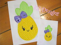 Pineapple With Bow Front Machine Applique Embroidery Design