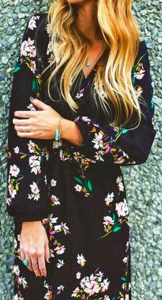 Gorgeous floral print black maxi dress