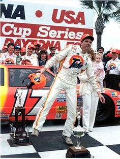 Darrell Waltrip dancing in victory lane at the 1989 Daytona 500.