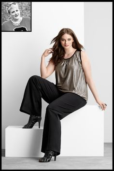 How To Spice Up A Black Outfit #refinery29  http://www.refinery29.com/black-plus-size-outfits#slide1  Margie Ashcroft, Margie PlusHer Picks: Black pants and metallic tank.  Is there anything more versatile than black pants? They are the quintessential throw-on-and-go for instant polish. Pair 'em with a metallic tank, and you've got some seriously unbasic basics — what outfit wouldn't want to be built around them? Shop the 6th