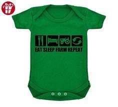 Funny Eat Sleep Farm Repeat Design Baby Bodysuit Emerald Green with Black Print (*Amazon Partner-Link)