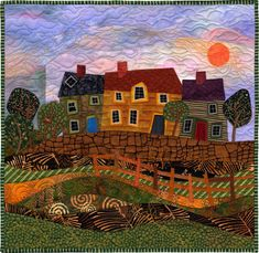 Cottages ©2004 Judith Reilly 18″ x 18″ fabric and thread original artwork. Machine pieced and appliquéd; machine quilted. 100% cotton fabrics.