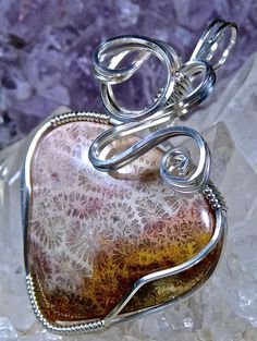 Wire Wrapped INDONESIAN FOSSILIZED CORAL Pendant by CrawfordStones