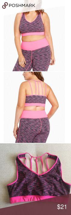4545f6c7403 Torrid multi strap active sports bra size 1 Hot pink spacedye sports bra.  Multi straps