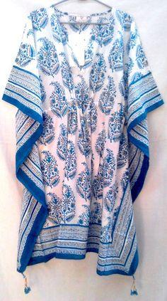 8367317384b Teal blue Boho chic Anokhi Floral Paisley Hand block print Indian cotton  Kaftan Tunic top One size by Khadiwallah