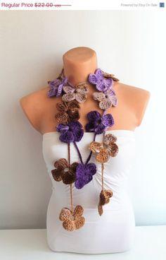 BIG SALE Purple Camel Brown Crochet Flower Scarf by fairstore, $14.30