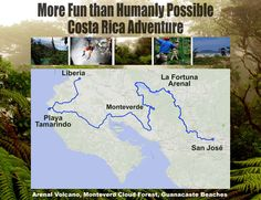 More Fun than Humanly Possible in Costa Rica - Arenal Volcano, Monteverde Cloud Forest & Guanacaste Beaches http://costa-rica-guide.com/trips/itineraries/more-fun-than-humanly-possible/