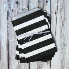 Rugby Striped Favor Bags - Black - Medium for $3.99 from The TomKat Studio Party Shop