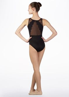 Bloch Scallop Mesh Tank Teens Leotard* Black back.