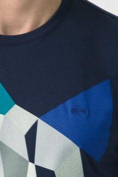 #Lacoste Short Sleeve #Geometric Print Jersey T-#Shirt