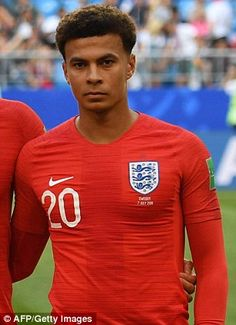 Dele Alli scored his first World Cup goal in Saturday's win over Sweden England National Football Team, England Football, Football Soccer, Football Players, Dele Ali, Baseball Scores, Baseball Uniforms, Women's Cycling Jersey, Cycling Jerseys