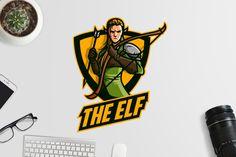 Esports Elf Archer Logo Template AI, EPS, PSD #unlimiteddownloads