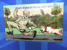 Vintage Comic Postcard 1911 BULLDOG Theme - MY WORD IF YOU'RE NOT OFF