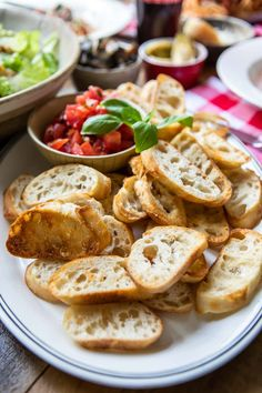 Make simple, delicious toasted baguette slices (crostini) for soups, salads, dips, and snacks. Just brush with olive oil and bake until golden brown.
