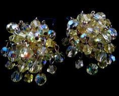 Vogue Signed Earrings Vintage Gold Tone Aurora Borealis Beaded Clusters | eBay