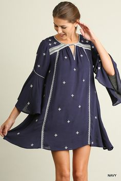 Day Dream Delight Boho Dress With Keyhole Neck & Embroidery Detail Navy S M L