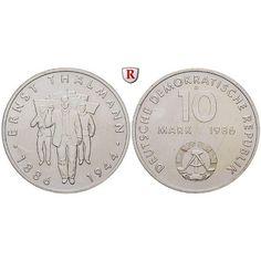 DDR, 10 Mark 1986, Thälmann, vz-st, J. 1608: Kupfer-Nickel-10 Mark 1986. Thälmann. J. 1608; vorzüglich-stempelfrisch 3,00€ #coins