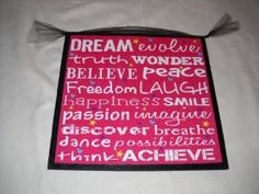 Amazon.com: Dream Believe Peace Laugh Smile Girls Wooden Wall Art Bedroom Sign Teen Room Decor: Home & Kitchen