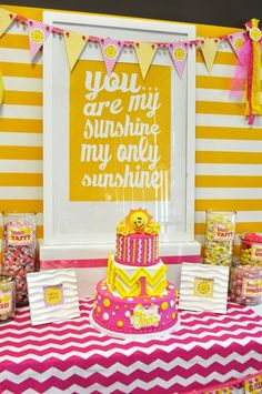 {BN Black Book of Parties} You Are My Sunshine Party. I especially like the white table cloth with chevron print cloth for a runner.