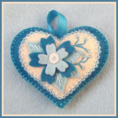 blue flower beaded and embroidered felt heart