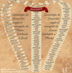 Genealogía de Jesucristo en los evangelios de Lucas y Mateo. Desde Adán hasta Jesucristo.  #Genealogia #Linaje #ArbolGenealogico #Jesus #Jose #Maria #BibliaEnGraficos #BibliaCreativa  #BibliaGrafica