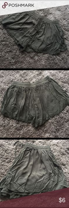 Forever 21 shorts Cute army green culotte style drawstring shorts - fully lined.  Never used, but washed and in excellent condition.  From a pet free & smoke free home Forever 21 Shorts