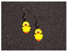 Little Chick Earrings van HandMadeBeadedCrafts op Etsy