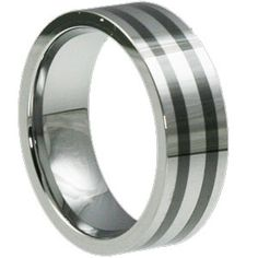 http://www.icelticrings.com/inexpensive-celtic-rings/  Vesta Inexpensive Celtic rings feature a flat, comfort fit ring design with two black ceramic strips circling the ring. The Vesta comes in an 8mm width and retails for $159.